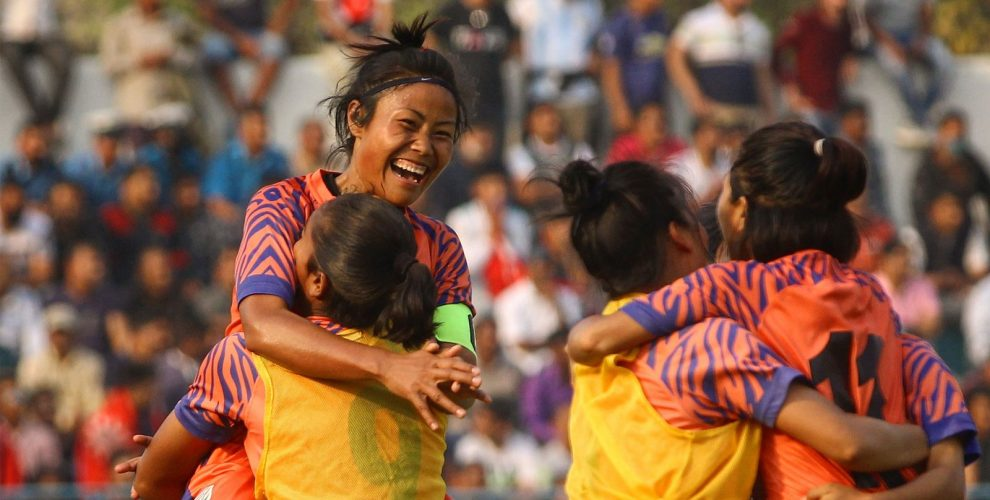 Indian Women's national team captain Ashalata Devi celebrating with her teammates. (Photo courtesy: AIFF Media)
