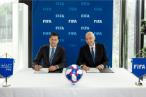 World Leagues Forum Chairman Christian Seifert and FIFA President Gianni Infantino. (Photo courtesy: World Leagues Forum)