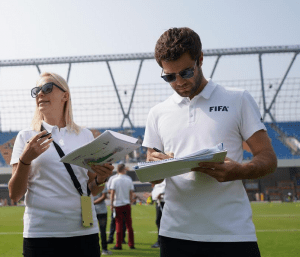 FIFA inspection at Ahmedabad's TransStadia Arena for the FIFA U-17 Women's World Cup India 2020. (Photo courtesy: FIFA U-17 Women's World Cup India 2020)