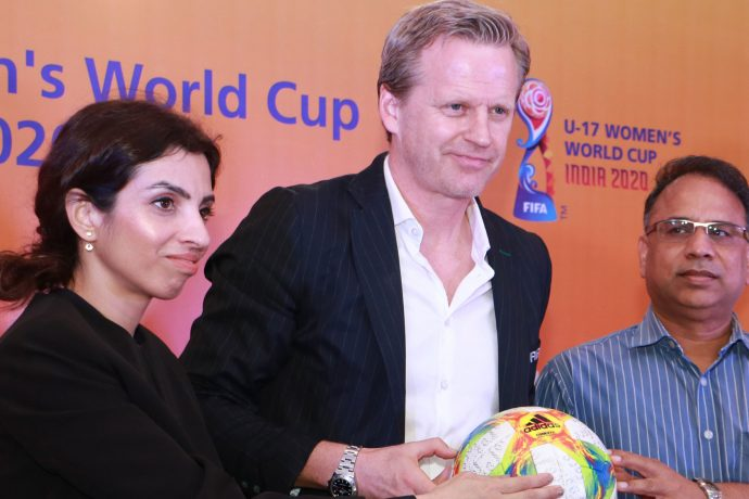 Roma Khanna, Tournament Director, FIFA U-17 Women's World Cup India 2020 LOC, FIFA Project Lead for the Tournament Oliver Vogt and Vishal Kumar De, IAS, Commissioner-cum-Secretary for Sports and Tourism, Govt. of Odisha during a press conference at the Kalinga Stadium in Bhubaneswar. (Photo courtesy: FIFA U-17 Women's World Cup India 2020 LOC)
