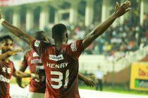 Gokulam Kerala FC's Ugandan striker Henry Kisekka celebrating his goal in the Hero I-League. (Photo courtesy: I-League Media)
