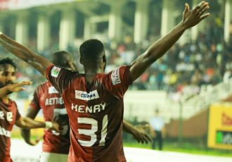 Gokulam Kerala FC's Ugandan striker Henry Kisekka celebrating his goal in the Hero I-League. (Photo courtesy: I-League Media)