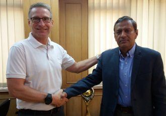 India U-17 Women's national team head coach Thomas Dennerby and All India Football Federation (AIFF) General Secretary Kushal Das. (Photo courtesy: AIFF Media)