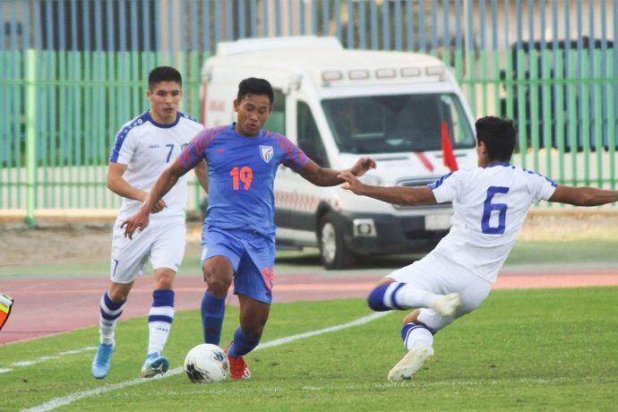 AFC U-19 Championship qualifier between the India U-19 national team and Uzbekistan. (Photo courtesy: AIFF Media)