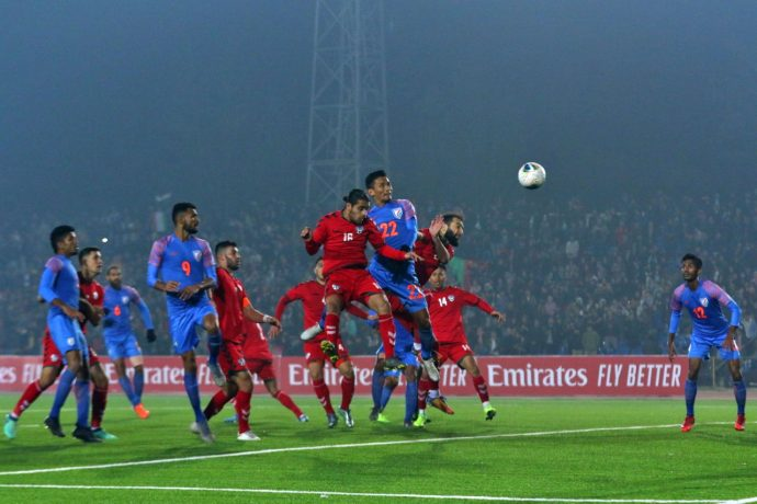 Seiminlen Doungel's injury time goal secured the Indian national team a 1-1 draw against Afghanistan in a joint FIFA World Cup Qatar 2022 and AFC Asian Cup China 2023 qualifier at the Central Republican Stadium in Dushanbe, Tajikistan. (Photo courtesy: AIFF Media)