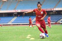 Indian Women's national team striker Bala Devi during a training session. (Photo courtesy: AIFF Media)