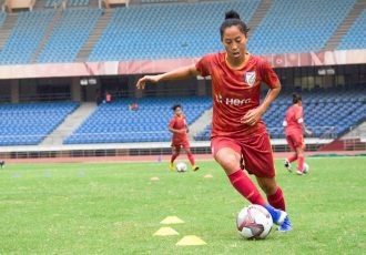 Indian Women's national team striker Bala Devi during a training session. (Photo courtesy: AIFF Media)