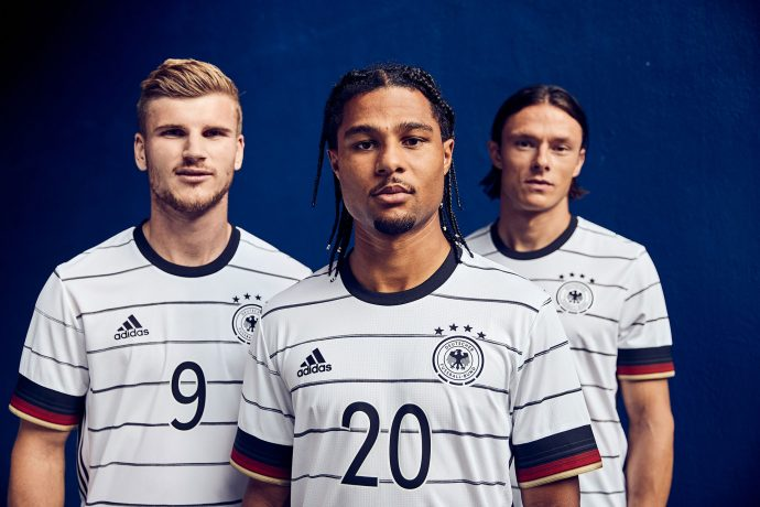 Timo Werner, Serge Gnabry and Nico Schulz presenting Germany's new home kit by adidas for the UEFA EURO 2020. (Photo courtesy: adidas)
