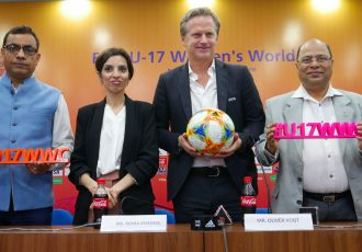Anoop Kumar Agrawal (IAS, Principal Secretary to the Govt. of West Bengal), Tournament Director of the Local Organising Committee Roma Khanna, Project Lead of FIFA U-17 Women's World Cup India 2020 Oliver Vogt and Subrata Datta, LOC Board Member & Senior Vice President, AIFF during the press conference in Kolkata. (Photo courtesy: AIFF Media)