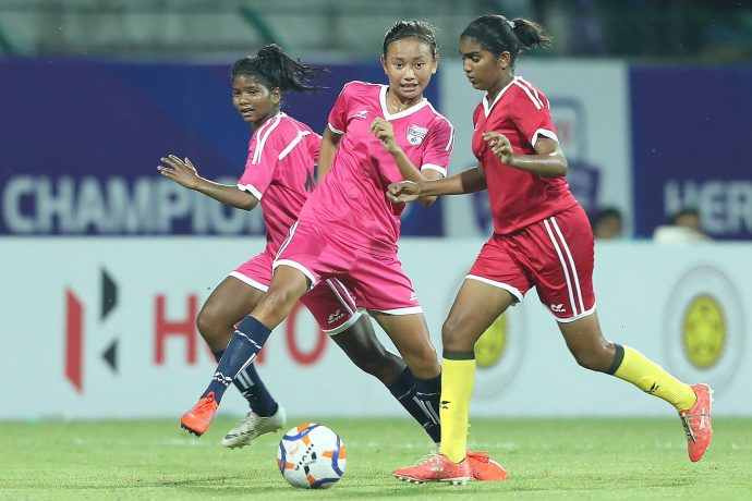 Hero U-17 Women's Championship match action between the Lionesses and Panthers. (Photo courtesy: AIFF Media)