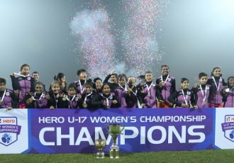 Lionesses celebrating their Hero U-17 Women's Championship title. (Photo courtesy: AIFF Media)