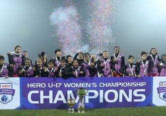 Lionesses celebrating their Hero U-17 Women's Championship title. (Photo courtesy: AIFF Media)