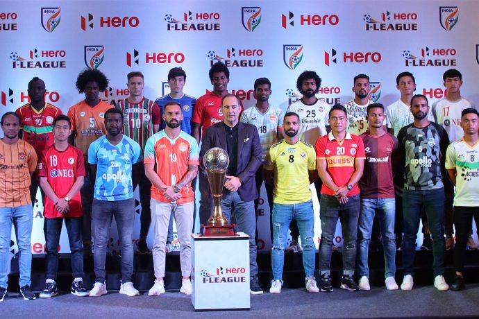 Indian national team head coach Igor Štimac alongside players from the eleven Hero I-League 2019-20 teams at the official launch ceremony in New Delhi. (Photo courtesy: I-League Media)