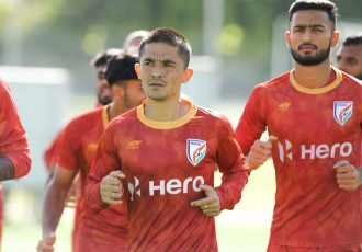 Indian national team captain Sunil Chhetri during a training session. (Photo courtesy: AIFF Media)