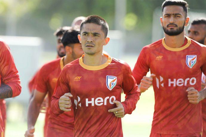 Indian national team captain Sunil Chhetri during a training session. (Photo courtesy: AIFF Media)