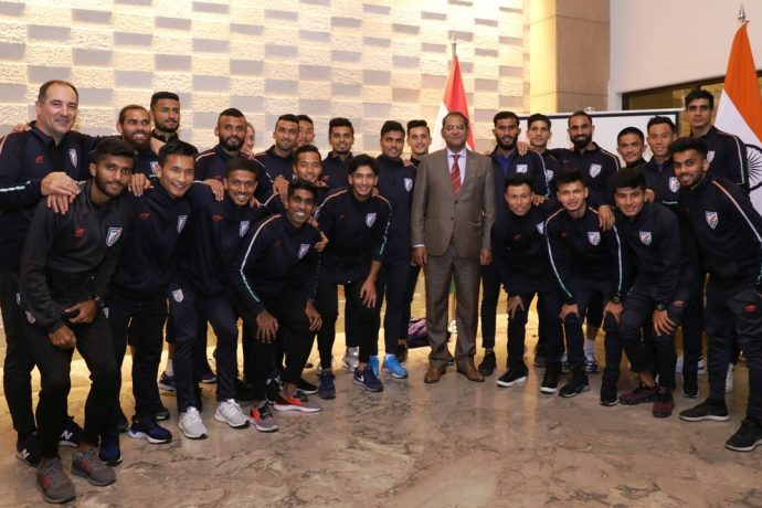 Viraj Singh, Ambassador of the Republic of India to Tajikistan with the Indian national team. (Photo courtesy: AIFF Media)