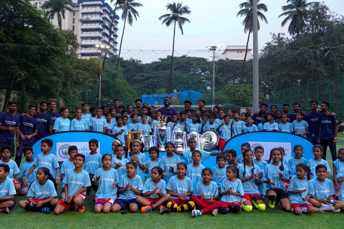 Manchester City FC celebratenthe launch of their community football project 'Goals for Life' in Mumbai. (Photo courtesy: Manchester City FC)