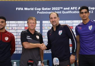 Oman defender Mohammed Al-Musalami, Oman head coach Erwin Koeman, India head coach Igor Štimac and India goalkeeper Gurpreet Singh Sandhu at the pre-match press conference ahead of the joint FIFA World Cup Qatar 2022 and AFC Asian Cup China 2023 qualifier. (Photo courtesy: AIFF Media)