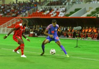 Match action between Oman and the Indian national team in the joint FIFA World Cup Qatar 2022 and AFC Asian Cup China 2023 Qualifiers. (Photo courtesy: AIFF Media)