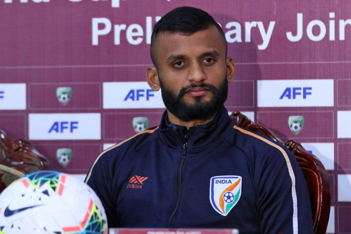 Indian national team defender Pronay Halder at the pre-match conference ahead of the joint FIFA World Cup Qatar 2022 and AFC Asian Cup China 2023 qualifier. (Photo courtesy: AIFF Media)