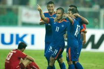 Indian national team star striker Sunil Chhetri celebrating a goal in the SAFF Suzuki Cup 2015. (Photo courtesy: AIFF Media)