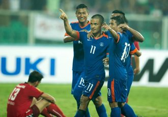 Indian national team star striker Sunil Chhetri celebrating a goal in the SAFF Suzuki Cup 2015. (Photo courtesy: AIFF Media)