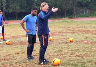 Bert Zuurman during a session of the joint AIFF-KNVB Coach Development programme. (Photo courtesy: AIFF Media)
