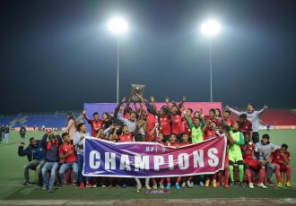 Aizawl FC players and officials celebrating their fourth Mizoram Premier League title. (Photo courtesy: Mizoram Football Association)
