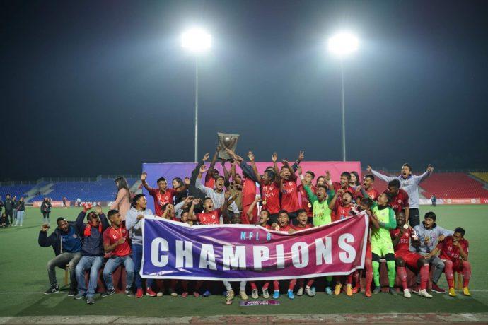Aizawl FC players and officials celebrating their fourth Mizoram Premier League title. (Photo courtesy: Mizoram Football Association)
