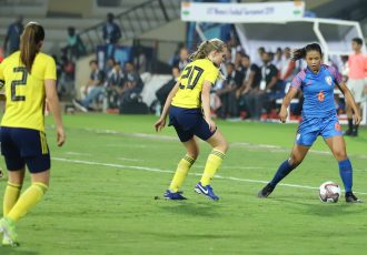 U-17 Women's Football Tournament 2019 match action between the India U-17 Women's national team and the Sweden U-17 Women's national team. (Photo courtesy: AIFF Media)