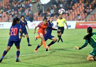 U-17 Women's Football Tournament 2019 match action between the India U-17 Women's national team and the Thailand U-17 Women's national team. (Photo courtesy: AIFF Media)