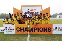 Meghalaya players and officials celebrating their Hero Sub-Junior National Football Championship 2019-20 title. (Photo courtesy: AIFF Media)