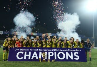 Sweden U-17 Women's national team players and officials celebrating their U-17 Women's Football Tournament 2019 title at the Mumbai Football Arena. (Photo courtesy: AIFF Media)