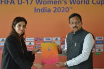 Roma Khanna, LOC Tournament Director, FIFA U-17 Women's World Cup India 2020 and Ishwarsinh Patel, Minister of Sports, Youth and Cultural Activity, Government of Gujrat. (Photo courtesy: FIFA U-17 Women's World Cup India 2020 LOC)
