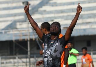 Punjab FC's Aser Dipanda Dicka celebrating one of his goals in the I-League. (Photo courtesy: I-League Media)