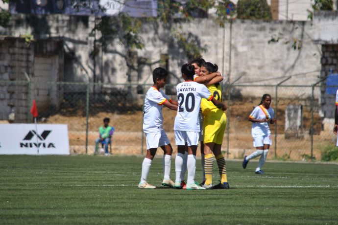 Bangalore United FC players celebrating their win in the Indian Women's League. (Photo courtesy: AIFF Media)