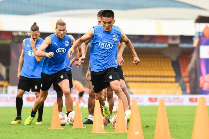 Bengaluru FC captain Sunil Chhetri and teammates during a training session. (Photo courtesy: Bengaluru FC)