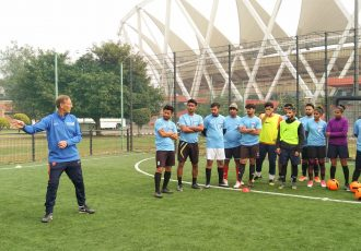 Netherlands legend Johan Neeskens during the KNVB-AIFF Masterclass in New Delhi. (Photo courtesy: AIFF Media)