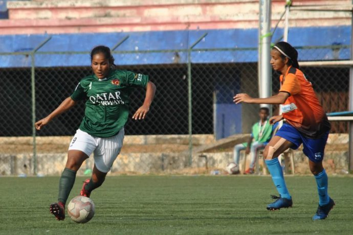 Indian Women's League match action between Kenkre FC and Bidesh XI Sports Club. (Photo courtesy: AIFF Media)