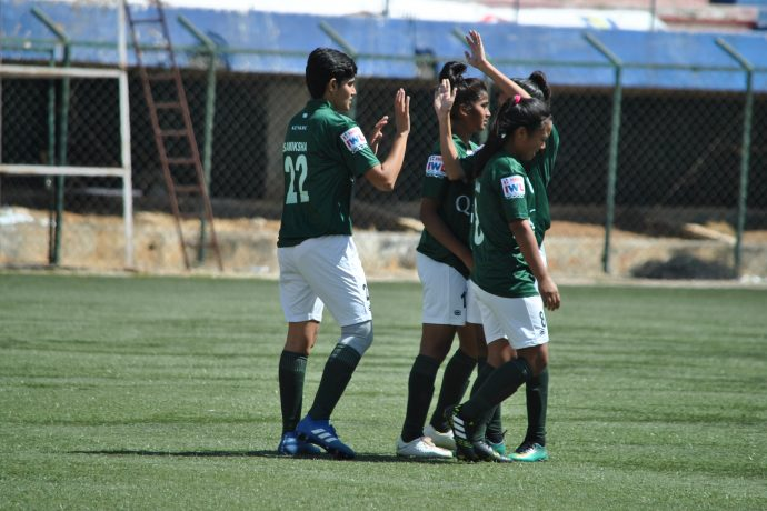 Kenkre FC players celebrating one of their goals in the Indian Women's League. (Photo courtesy: AIFF Media)