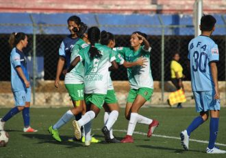 Kickstart FC players celebrating their win against Baroda Football Academy in the Indian Womens League. (Photo courtesy: AIFF Media)