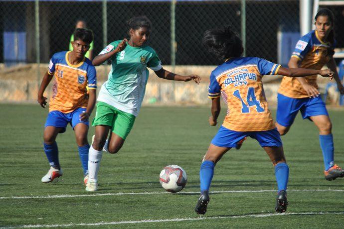Indian Women's League (IWL) match action between Kickstart FC and FC Kolhapur City. (Photo courtesy: AIFF Media)