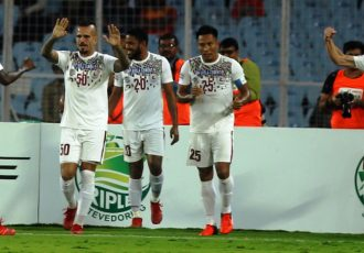 Mohun Bagan AC players celebrating one of their I-League goals. (Photo courtesy: I-League Media)