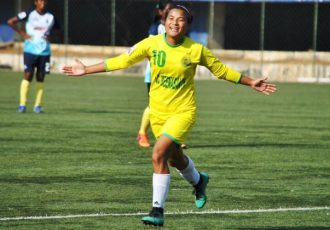 Kryphsa FC's Ratanbala Devi celebrating one of her goals in the Indian Women's League. (Photo courtesy: AIFF Media)