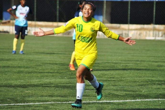 Kryphsa FC's Ratanbala Devi celebrating one of her goals in the Indian Women's League. (Photo courtesy: AIFF Media)