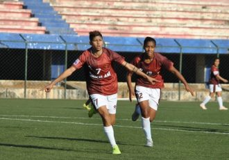 Sabitra Bhandari celebrating her goal for Gokulam Kerala FC in the Indian Women's League. (Photo courtesy: AIFF Media)