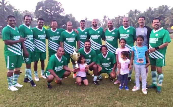 The Salgaocar FC Legends team after the exhibition match. (Photo courtesy: Salgaocar FC)