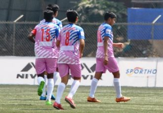 Sreebhumi FC players during their Indian Women's League game. (Photo courtesy: AIFF Media)