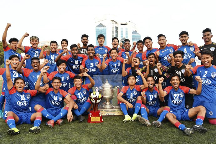 The Bengaluru FC colts were presented with the prestigious George Hoover Trophy at the Bengaluru Football Stadium for winning the 2019-20 edition of the BDFA Super Division League. (Photo courtesy: Bengaluru FC)