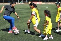 Indian Women's football legend Oinam Bembem Devi playing football with girls. (Photo courtesy: AIFF Media)